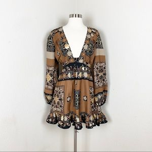 Chelsea and Violet floral Tan Dress long sleeve m